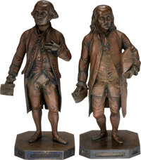 George Washington and Benjamin Franklin: Bronze Statuettes.... (Total: 2 Items)