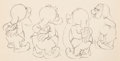 Animation Art:Production Drawing, Snow White and Seven Dwarfs Sneezy, Happy, Bashful and Sleepy Animation Drawing (Walt Disney, 1937). . ...