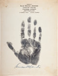 Baseball Collectibles:Others, 1934 Kenesaw Mountain Landis Signed Handprint & Related Letter....