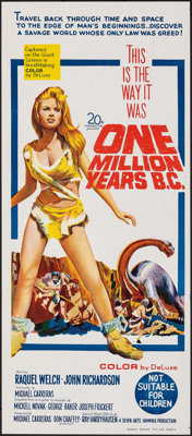 "One Million Years B.C. (20th Century Fox, 1966). Folded, Very Fine/Near Mint. Australian Daybill (13"" X 30"")..."