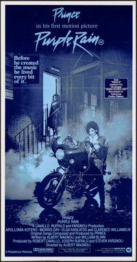 "Purple Rain (Warner Bros., 1984). Folded, Very Fine. Australian Daybill (13.25"" X 25.25""). Rock and Roll"