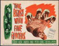 """The Beast with Five Fingers (Warner Bros., 1947). Very Fine. Title Lobby Card (11"""" X 14""""). Horror"""