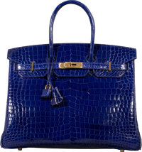 Hermès 35cm Shiny Blue Electric Porosus Crocodile Birkin Bag with Gold Hardware R Square, 2014 Co