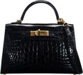 "Luxury Accessories:Bags, Hermès 20cm Shiny Black Alligator Mini Kelly II Bag with Gold Hardware. A, 2017. Condition: 2. 7.5"" Width x 5"" Hei..."