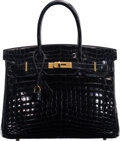 "Luxury Accessories:Bags, Hermès 30cm Black Niloticus Crocodile Birkin Bag with Gold Hardware. O Square, 2011. Condition: 3. 11.5"" Width x 9..."