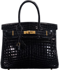 Hermès 30cm Black Niloticus Crocodile Birkin Bag with Gold Hardware O Square, 2011 Condition: 3</