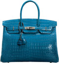 "Luxury Accessories:Bags, Hermès 35cm Shiny Mykonos Porosus Crocodile Birkin Bag with Palladium Hardware. R, 2014 . Condition: 3. 14"" Width ..."