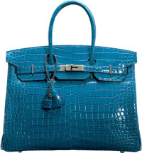 Hermès 35cm Shiny Mykonos Porosus Crocodile Birkin Bag with Palladium Hardware R, 2014 Condition