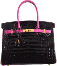 Hermès Special Order Horseshoe 30cm Shiny Black & Rose Shocking Niloticus Crocodile Birkin Bag with Gold Hard...