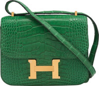 "Hermès 18cm Matte Cactus Alligator Constance Bag with Gold Hardware A, 2017 Condition: 2 7"" Width x 6""..."