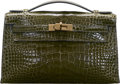 """Luxury Accessories:Bags, Hermès Shiny Vert Veronese Alligator Kelly Pochette Bag with Gold Hardware. N Square, 2010. Condition: 3. 8.5"""" Wid..."""