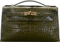 "Hermès Shiny Vert Veronese Alligator Kelly Pochette Bag with Gold Hardware N Square, 2010 Condition: 3 8.5""..."