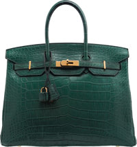 "Hermès 35cm Vert Titien Alligator Birkin Bag with Gold Hardware R Square, 2014 Condition: 3 13.5"" Width x 10..."