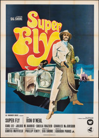 "Super Fly (Warner Bros., 1972). Folded, Very Fine-. Italian 4 - Fogli (55"" X 77""). Blaxploitation"