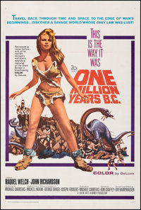 "One Million Years B.C. (20th Century Fox, 1966). Fine+ on Linen. One Sheet (27"" X 41""). Jack Thurston Artwork..."