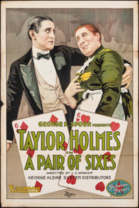 """A Pair of Sixes (Essanay, 1918). Folded, Fine+. One Sheet (28"""" X 42""""). Comedy"""