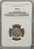 Buffalo Nickels, 1913-S 5C Type Two MS65 NGC. NGC Census: (65/16). PCGS Population: (136/58). CDN: $2,100 Whsle. Bid for NGC/PCGS MS65. Mint...