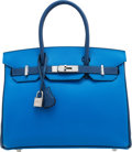 Luxury Accessories:Bags, Hermès Special Order Horseshoe 30cm Blue Hydra and Blue Saphir Chevre Leather Birkin Bag with Palladium Hardware. D, 2019...