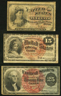 Fractional Currency:Fourth Issue, Fr. 1258 10¢ Fourth Issue Fine;. Fr. 1268 15¢ Fourth Issue Fine-Very Fine;. Fr. 1303 25¢ Fourth Issue Fine-Very Fine.... (Total: 3 notes)