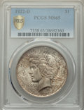 1922-D $1 MS65 PCGS. PCGS Population: (1330/245 and 58/32+). NGC Census: (891/252 and 20/12+). CDN: $425 Whsle. Bid for...