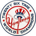 Baseball Collectibles:Others, 2000's 26 Time World Champions Wooden Oversized Display Hung at Yankee Stadium....