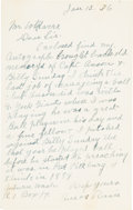 Baseball Collectibles:Others, 1936 Amos Rusie Handwritten & Signed Letter....