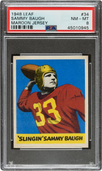 1948 Leaf Sammy Baugh (Maroon Jersey) #34 PSA NM-MT 8