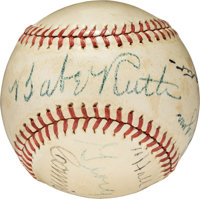 1944 Connie Mack Day Multi-Signed Baseball with Ruth, Wagner, Johnson, PSA/DNA EX 5