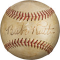 Baseball Collectibles:Balls, 1943 Babe Ruth & Ted Williams Signed Baseball from Famous Fenway Park Meeting....
