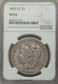 Morgan Dollars: , 1893-CC $1 VF25 NGC. NGC Census: (241/2806). PCGS Population: (335/5795). CDN: $550 Whsle. Bid for NGC/PCGS VF25. Mintage 6...