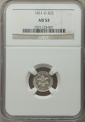 Three Cent Silver: , 1851-O 3CS AU53 NGC. NGC Census: (5/401). PCGS Population: (30/556). CDN: $300 Whsle. Bid for NGC/PCGS AU53. Mintage 720,00...