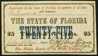 Tallahassee, FL- State of Florida 25¢ Feb. 2, 1864 Cr. 24 Choice Crisp Uncirculated