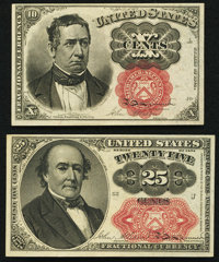 Fr. 1266 10¢ Fifth Issue About New; Fr. 1309 25¢ Fifth Issue Choice New. ... (Total: 2 notes)