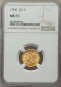 Liberty Quarter Eagles: , 1906 $2 1/2 MS65 NGC. NGC Census: (548/347). PCGS Population: (639/382). MS65. Mintage 176,300. ...