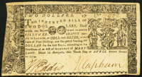 Maryland April 10, 1774 $2 Very Fine