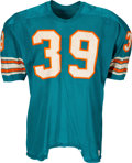 Football Collectibles:Uniforms, 1969 Larry Csonka Game Worn & Signed Miami Dolphins Jersey--Photo Matched!...