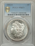 1882-S $1 MS67+ PCGS. PCGS Population: (1085/72 and 170/11+). NGC Census: (1764/124 and 78/6+). MS67. Mintage 9,250,000...