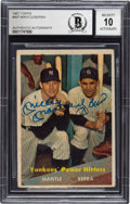 """Autographs:Sports Cards, Dual-Signed 1957 Topps """"Yankees' Power Hitters"""" Mickey Mantle and Yogi Berra #407 BAS Autograph 10. ..."""