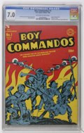 Golden Age (1938-1955):War, Boy Commandos #1 (DC, 1942) CGC FN/VF 7.0 Off-white to white pages.