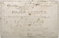 1936 Major League Baseball Silver Lifetime Pass Issued to Al Simmons