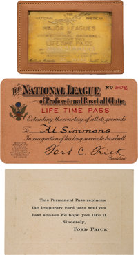 1940's Major League Baseball Lifetime Gold Pass & Related Ephemera Issued to Al Simmons