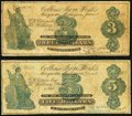 Marquette, MI- Collins Iron Works $3; $5 1872-73 Very Good-Fine. ... (Total: 2 notes)