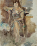 Paintings, Jules Pascin (Bulgarian/French, 1885-1930). Lucy à Fontenay-aux-Roses, 1928-29. Oil on canvas. 36-1/4 x 28-3/4 inches (9...