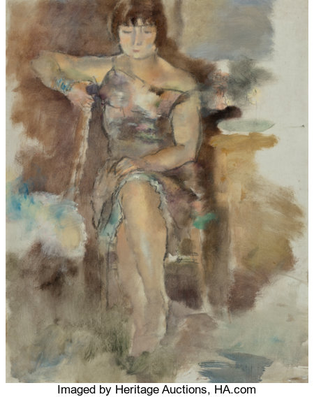 Jules Pascin (Bulgarian/French, 1885-1930) Lucy à Fontenay-aux-Roses, 1928-29 Oil on canvas 36-1/4 x 28-3/4 inches (9...