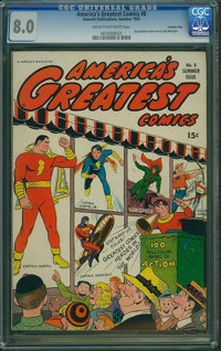 America's Greatest Comics #8 - Crowley Pedigree Copy (Fawcett Publications, 1943) CGC VF 8.0 Cream to off-white pages...