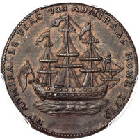 1779 TOKEN Rhode Island Ship Token, No Wreath, Brass, AU58 PCGS. Betts-562, W-1730, R.4....(PCGS# 579)