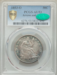 1853-O 50C Arrows and Rays AU53 PCGS. CAC. PCGS Population: (27/67 and 0/1+). NGC Census: (14/83 and 0/0+). CDN: $850 Wh...