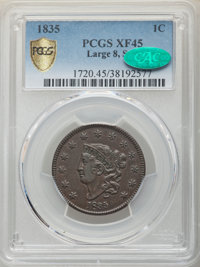 1835 1C Large 8, Large Stars, XF45 PCGS. CAC. PCGS Population: (7/20 and 0/0+). NGC Census: (0/0 and 0/0+). CDN: $375 Wh...