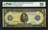 Fr. 886 $5 1914 Federal Reserve Note PMG Very Fine 20