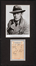 "Movie Posters:Miscellaneous, Alan Ladd & Other Lot (1941-1952). Fine/Very Fine. Autographed German Postcard (3.5"" X 5.5""), Photo and Autographed Receipt ... (Total: 15 Items)"